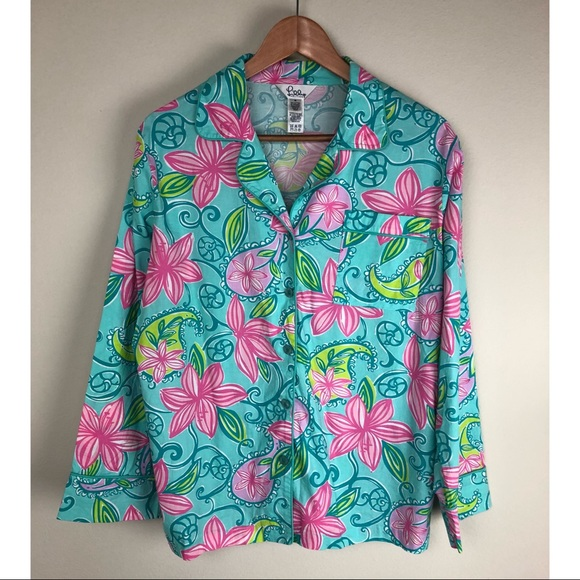 4063d948fc1 Lilly Pulitzer Tops - Lily Pulitzer Pink Blue Floral Print Button Down